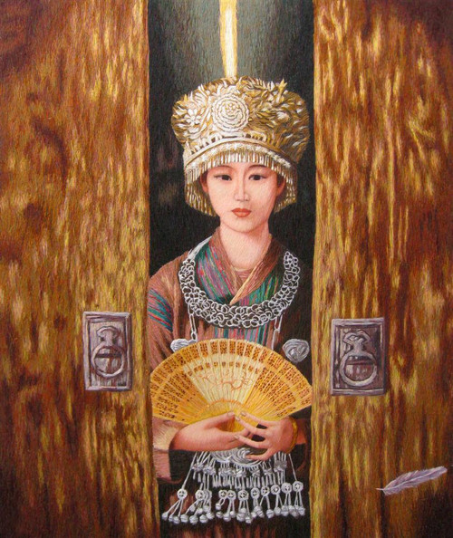 King Silk Art People Miao Goddess at the Door-Chun 75123