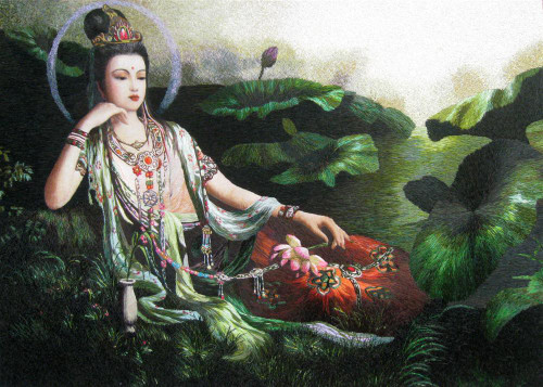 King Silk Art People Guanyin Lounging with Lotus 75191