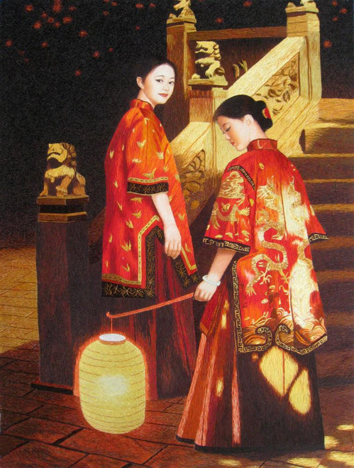 King Silk Art People Two Girls with a Lantern in Silk 75202