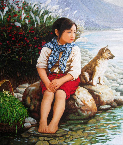 King Silk Art People Girl and Dog by the River 75206