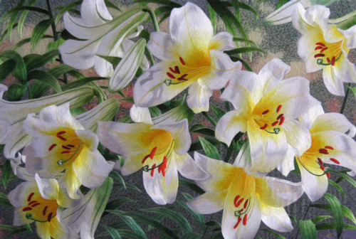 King Silk Art  Flower Floral White and Yellow Lilies 76061