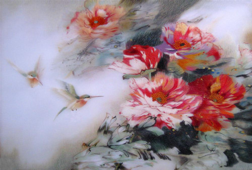 King Silk Art Flower Floral Hummingbirds and Red Peonies 76076