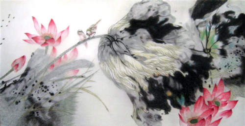 King Silk Art Flower Floral Birds and Lotus in the Wind-4080  76101