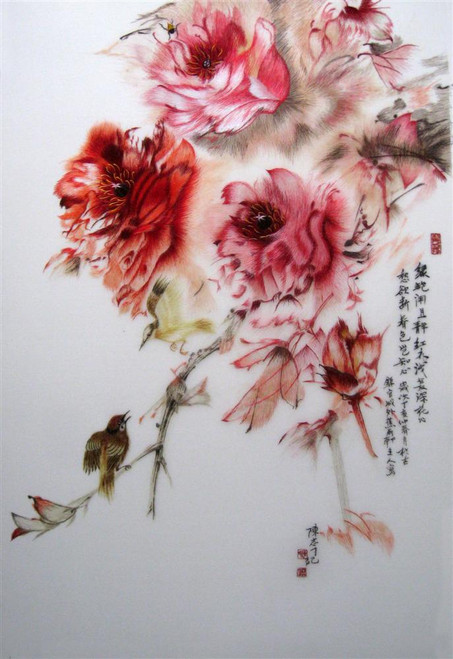King Silk Art  Flower Two birds with Five Peony  76121