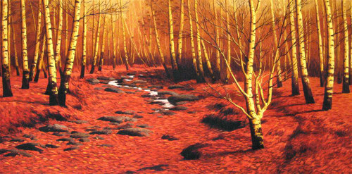 King Silk Art  Landscape Birch Tree Forest in Autumn 77080
