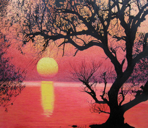 King Silk Art Landscape Tree Under a Pink Sky 77096