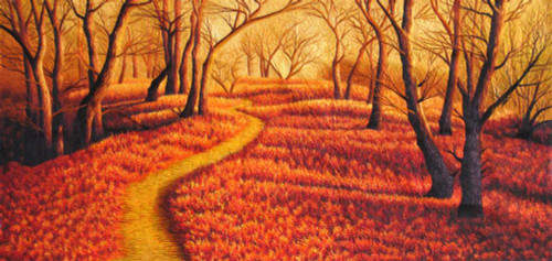 King Silk Art  Landscape Golden Forest 77097