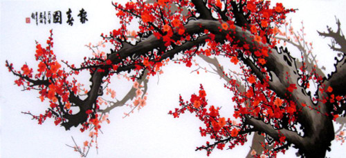 King Silk Art  Landscape Red Winter Plum Blossoms--Large 77124