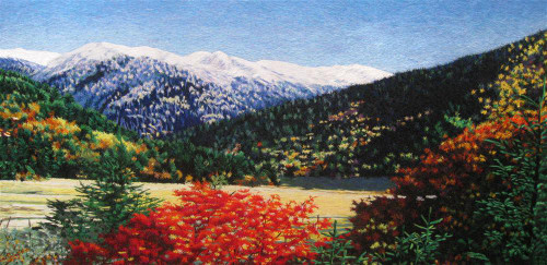 King Silk Art  Landscape Snowy Mountaincap in Autumn 77139