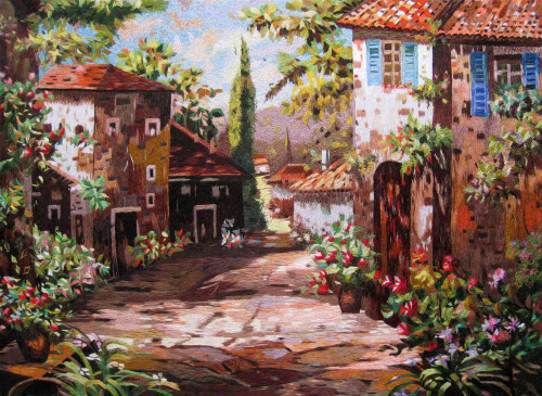 King Silk Art Landscape Mediterranean Village 77145