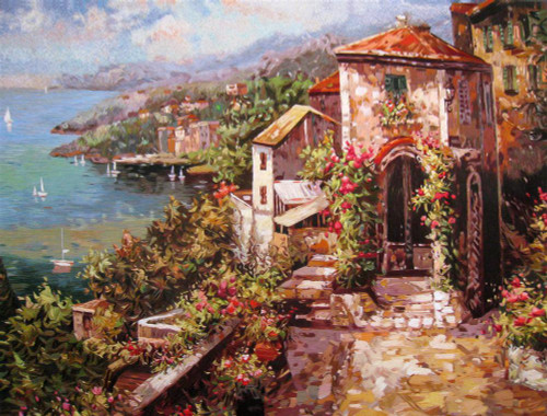 King Silk Art Landscape Mediterranean View 77146