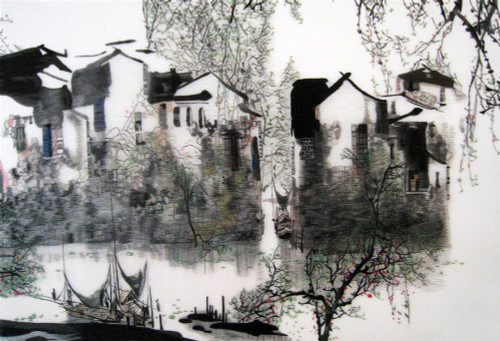 King Silk Art Landscape Suzhou Village River-4060 77152