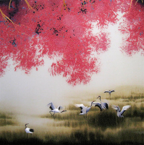 King Silk Art  Landscape Six Ruby Cranes Under Plums 77191