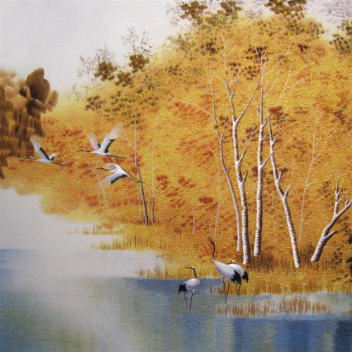 King Silk Art  Landscape Six Ruby Cranes Under Birch Trees 77192
