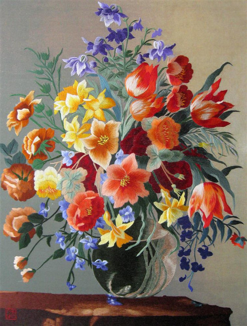 King Silk Art Flower Floral Brown Vase with Red and Blue 86070