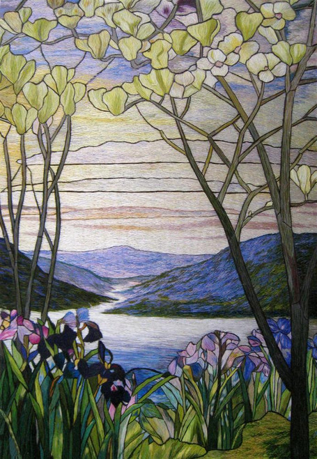 King Silk Art Flower Floral Magnolias and Irises-Tiffany Stained Glass 86079