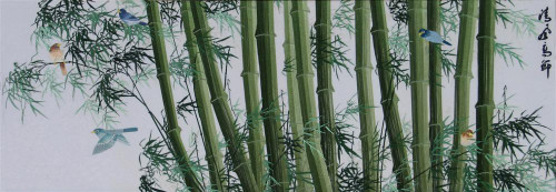 King Silk Art  Landscape Birds in a Bamboo Forest 87005