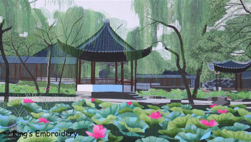 King Silk Art Landscape Willow Pond in Suzhou Garden 87014