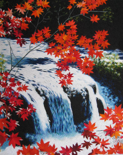 King Silk Art Water Fall Red Trees 87057