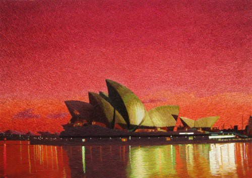 King Silk Art andscape Sydney Opera House Sunset 87142