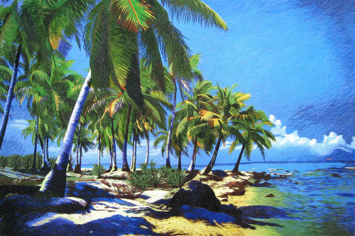 King Silk Art Landscape Palm Trees on the Beach-4060 87170