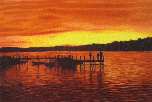 King Silk Art Landscape Dock at Sunset-New 87251