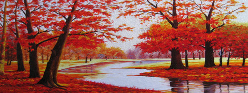 King Silk Art Landscape Red Maple 77060
