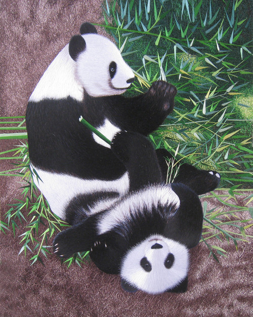 King Silk Art Wildlife Animal Two Pandas Sitting in Bamboo 74112