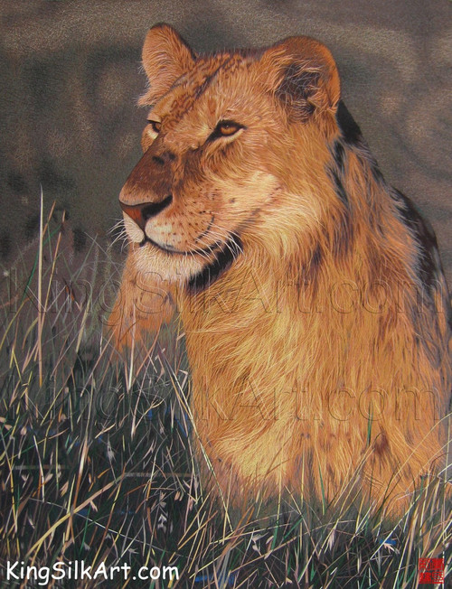 King Silk Art Animal Lioness in the Grass 74072