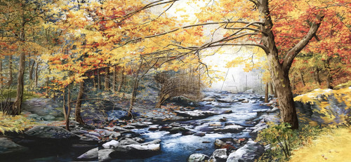 King Silk Art  Landscape Autumn Rock River 77023