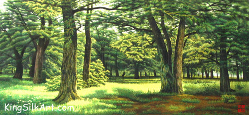 King Silk Art Landscape Green Forest 77054