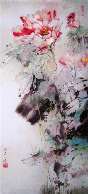 Copy of King Silk Art  Flower Floral Ink Lotus in the Wild-3580A  76102