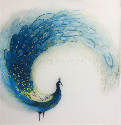 King Silk Art Wildlife Bird Blue Peacock Circle 71056