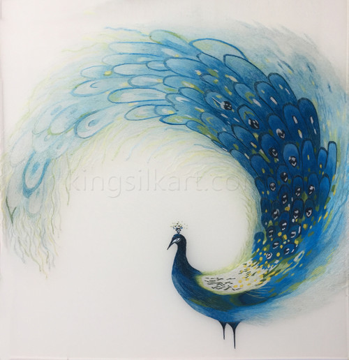 King Silk Art Wildlife Bird Blue Peacock Circle 71057