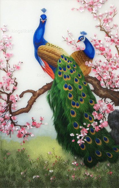 King Silk Art  Wildlife Bird Blue Peacocks on a Branch 71083