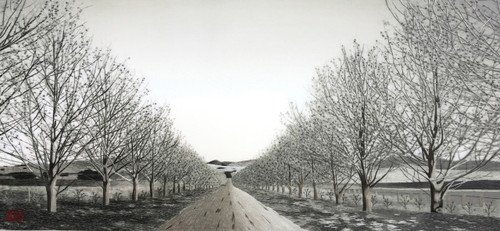 King Silk Art  Landscape Black and White Path with Trees 77197