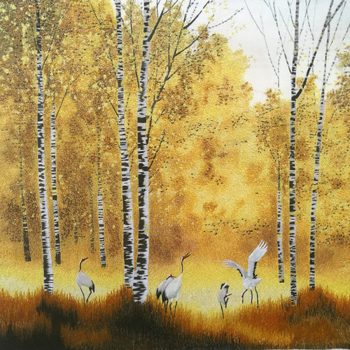 King Silk Art  Landscape Cranes with Yellow Aspen Trees   77188
