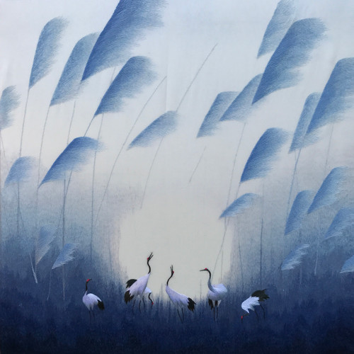 King Silk Art  Landscape Six Ruby Cranes in Wind 77190