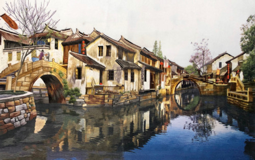 King Silk Art  Landscape Suzhou Village 77088