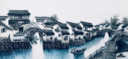 King Silk Art Landscape Suzhou Village 77087