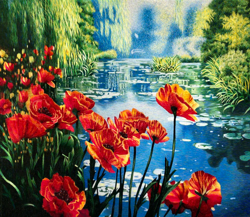 King Silk Art  Monet Poppy Pond 76171