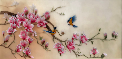 King Silk Art  Magnolia with Two Birds 76431