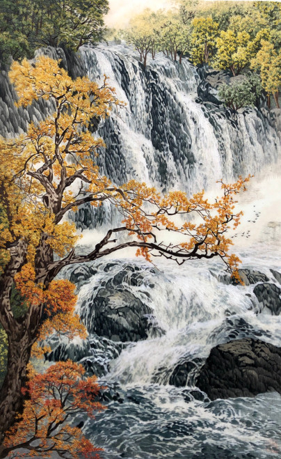 King Silk Art Landscape Waterfull 87058