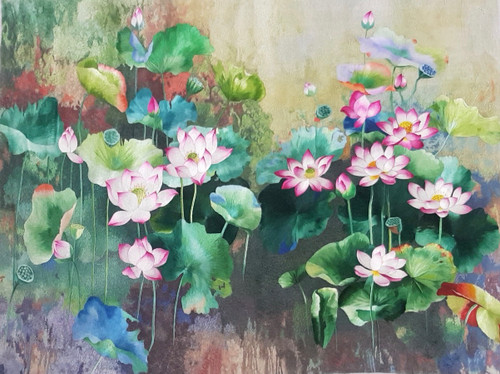 King Silk Art  Flower Floral Lotus Pond 76411
