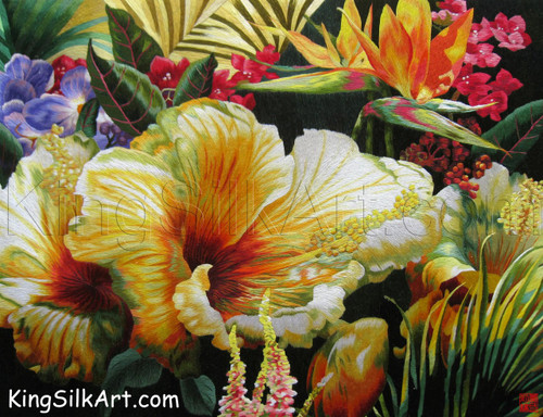 King Silk Art Flower Floral Yellow, Red and Blue  86024