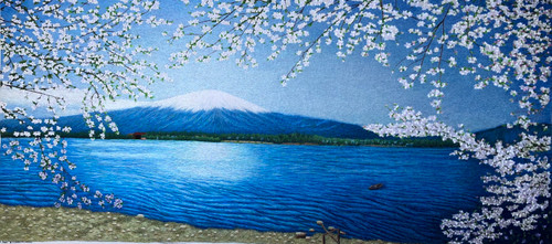 King Silk Art  Landscape Cherry Blossoms Under Mount Fuji 77219