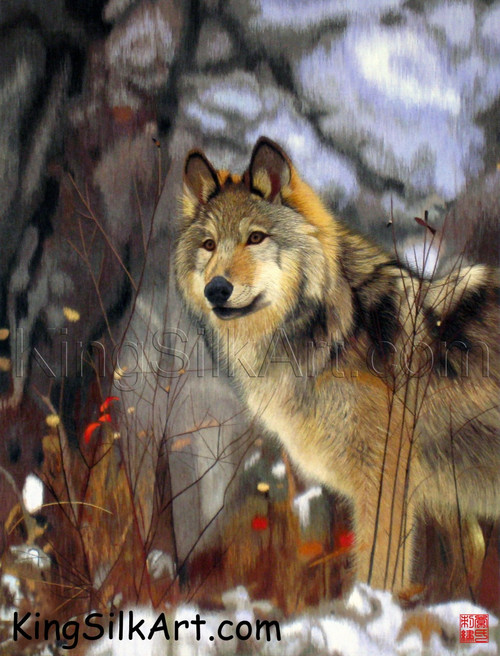 King Silk Art  Wildlife Animal Wolf in Winter 74026
