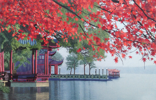 King Silk Art  Landscape West Lake in Autumn  87024