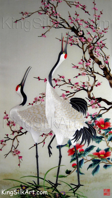 King Silk Art  Wildlife Ruby Cranes Under a Cherry Tree 71027