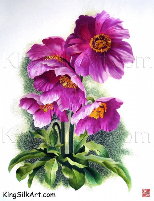 King Silk Art  Flower Magenta Poppies 76042